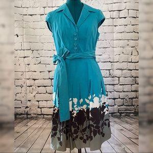 Adrianna Papell petite turquoise shirt dress